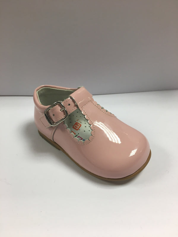 Andanines Pink Patent Leather T-Bars Scallop Edging - Liquorice Kids