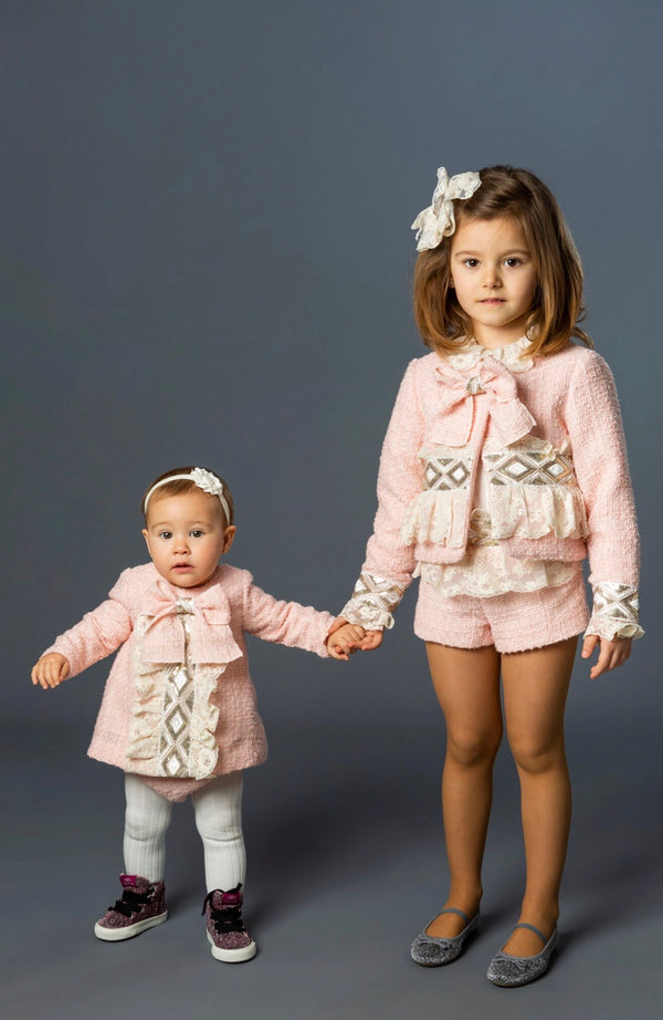 AW19 Naxos Baby Girls Pink Chanel Style Dress & Knickers Set