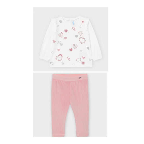 AW20 Mayoral Toddler Girls Pink Heart Leggings Set 2056 & 727