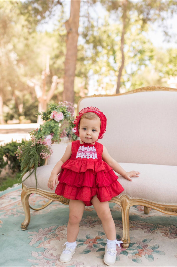PRE-ORDER SS20 Dolce Petit Baby Girls Red & White Lace Dress Knickers & Bonnet Set 2115-VBG