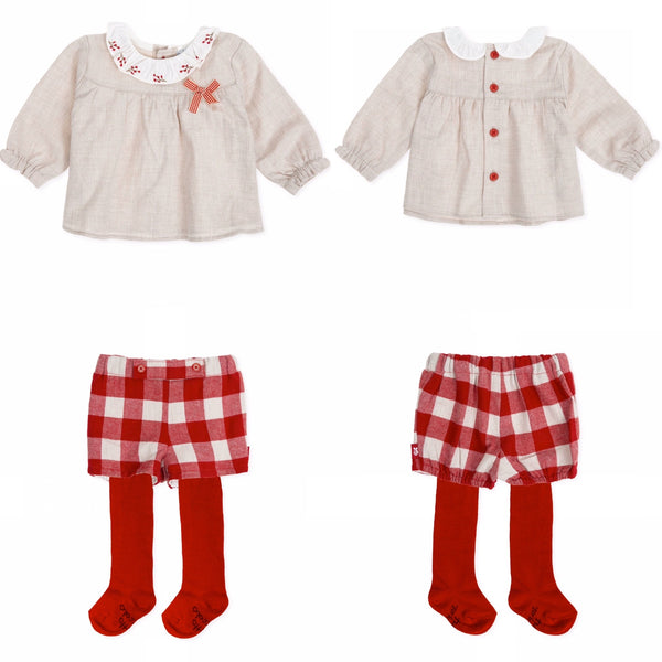 AW19 Tutto Piccolo Baby Girls Red Check Shorts Set 7002 & 7302