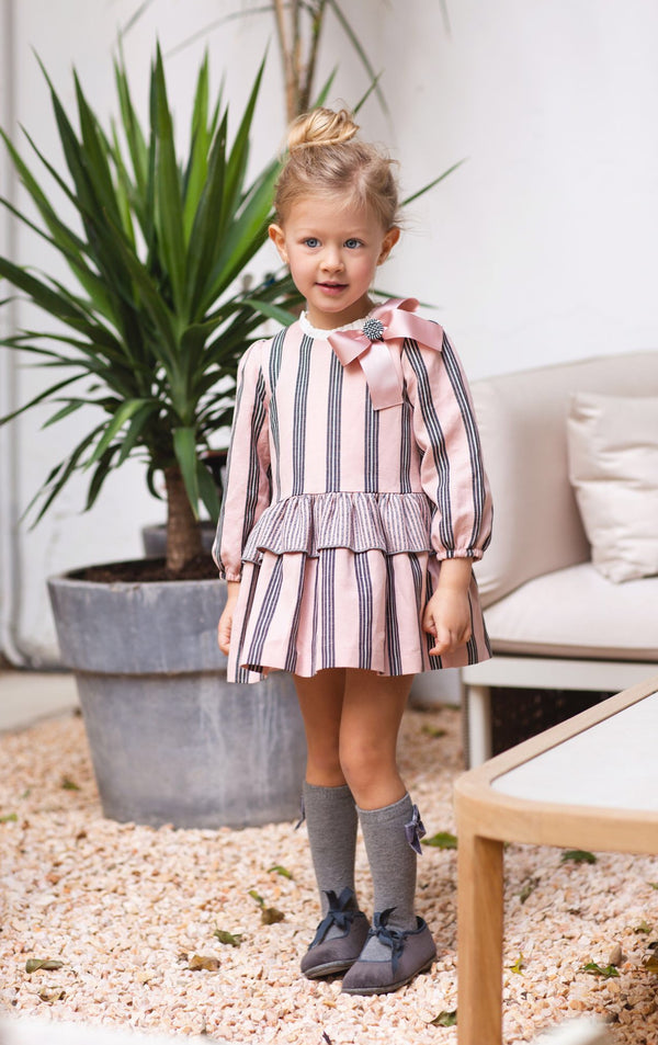 AW20 Rochy Girls Rayas Pink & Grey Dress