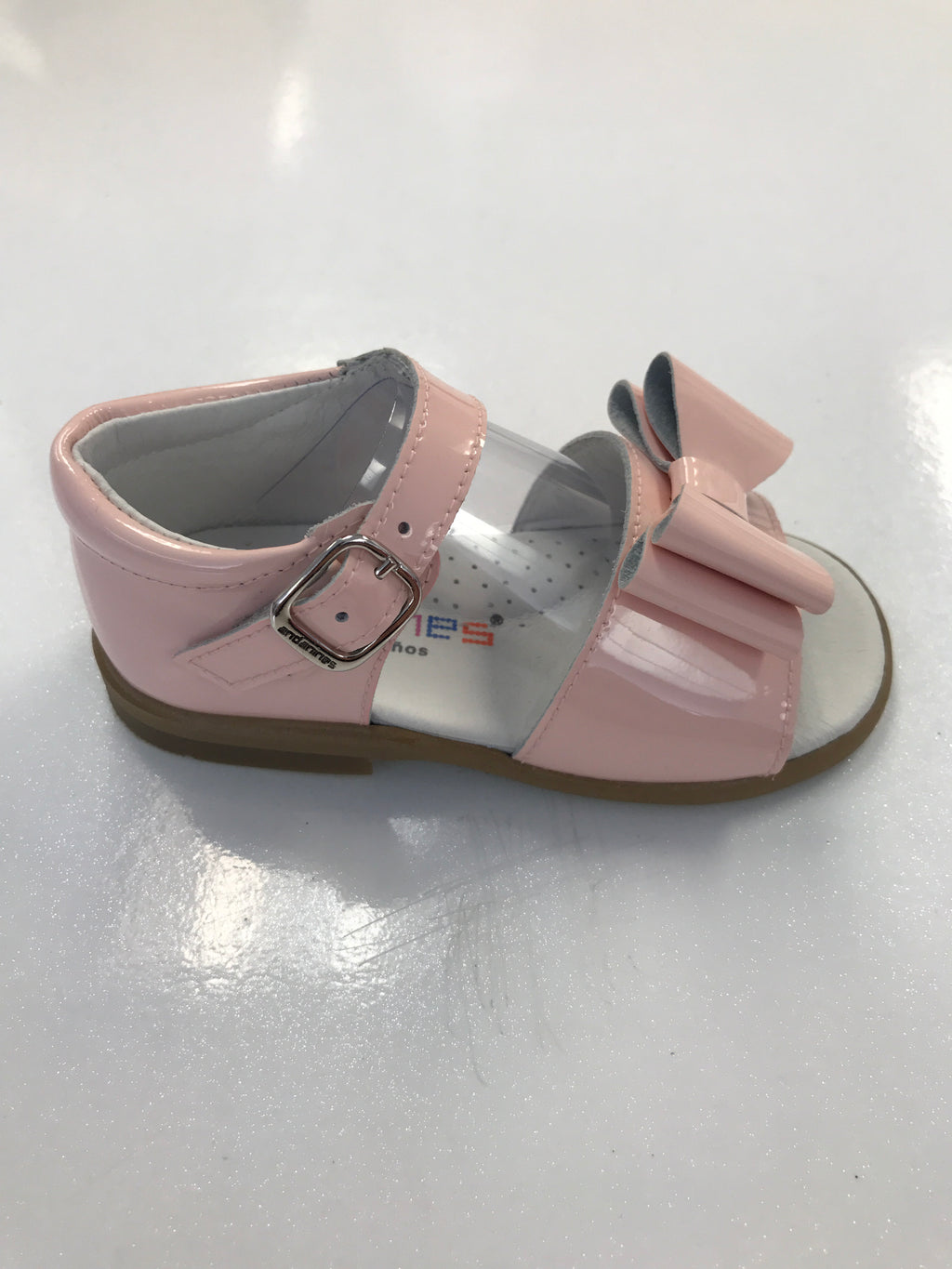 Andanines Girls Pink Patent Double Bow Sandals