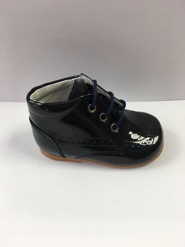 Andanines Boys Navy Patent Leather Boot - Liquorice Kids