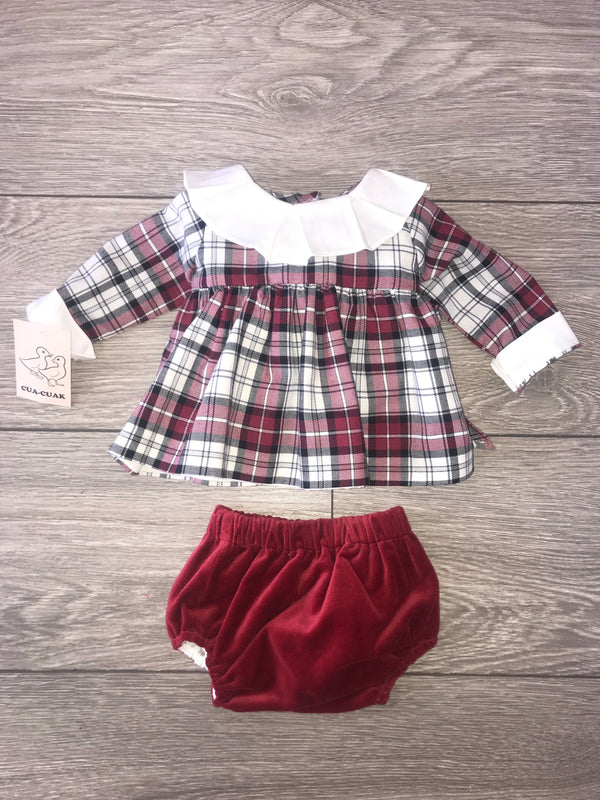 AW18 Cua Cuak Baby Girls Tartan Dress & Knickers Set