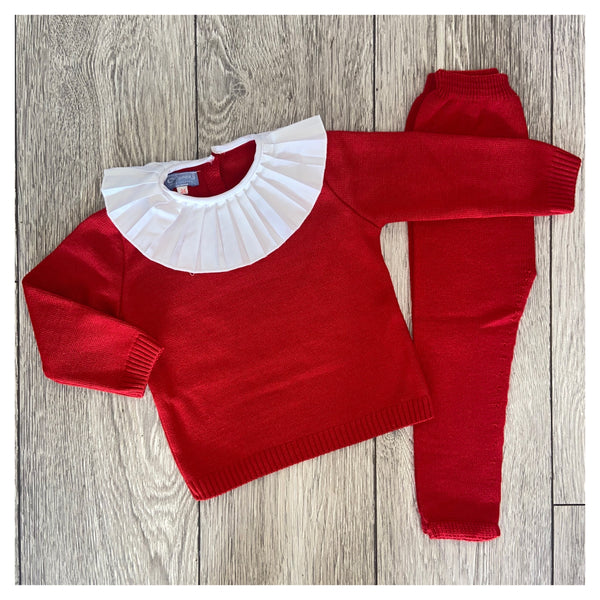 Aurea Pleated Collar Red Girls Knit Tracksuit