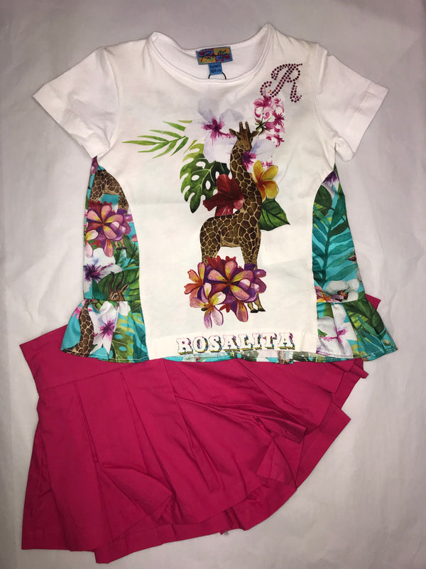 SS19 Rosalita Girls Aloha Pink Shorts Set