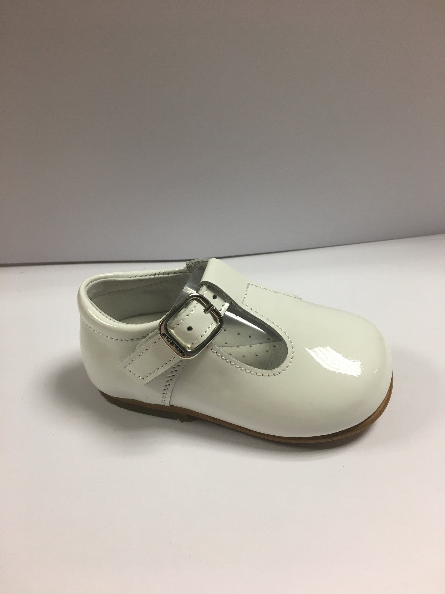 Andanines White Patent Leather T-Bars