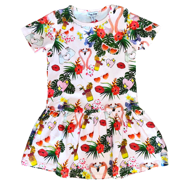 SS20 Happy Calegi Girls Pink Flamingo Dress