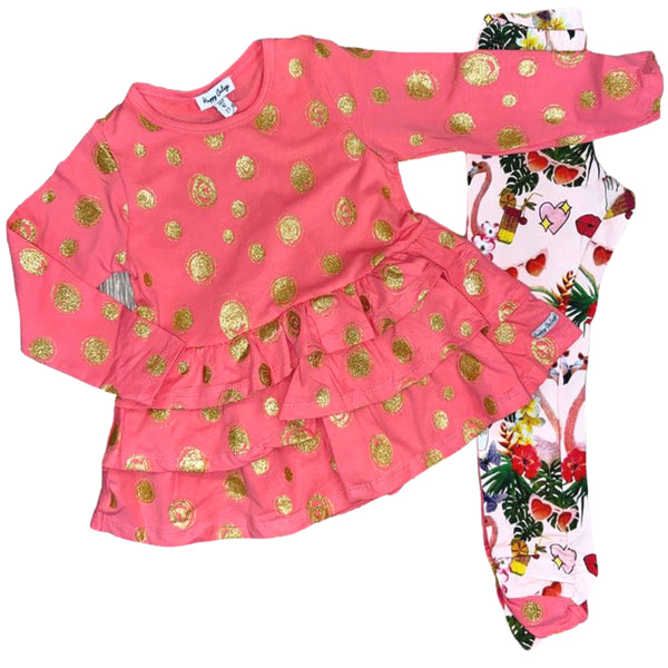 SS20 Happy Calegi Girls Pink & Gold Flamingo Leggings Set