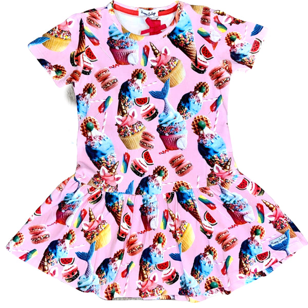 SS20 Happy Calegi Girls Mermaids & Cupcakes Dress