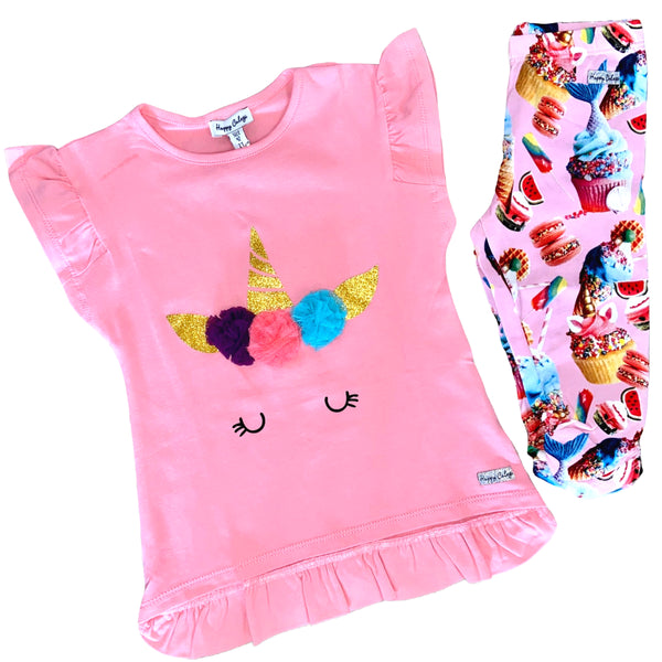 SS20 Happy Calegi Girls Unicorn, Mermaids & Cupcakes Legging Set
