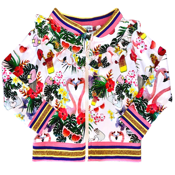 SS20 Happy Calegi Girls Pink Flamingo Bomber Jacket