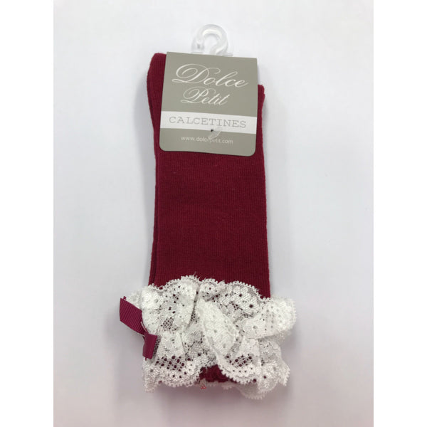 Dolce Petit Girls Burgundy Bow & Lace Knee High Socks 2503-C