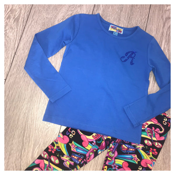 AW19 Rosalita Girls Blue Peace & Love Leggings Set