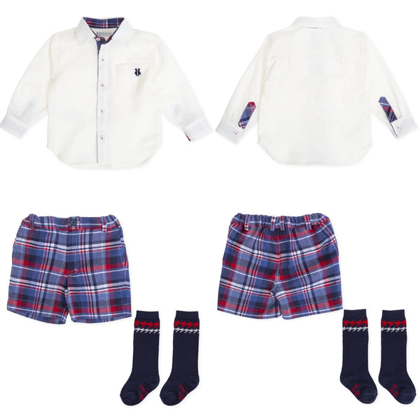 AW19 Tutto Piccolo Boys Red & Blue Check Shorts Set 7037 & 7337