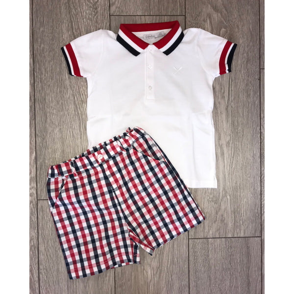SS19 Patachou Boys Navy Blue, Red & White Shorts Set