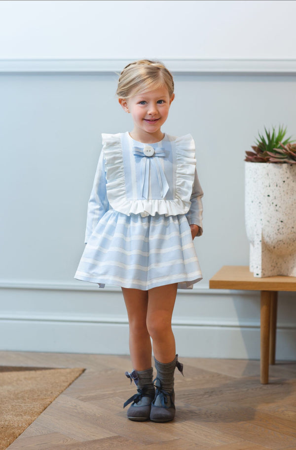 AW20 Rochy Girls Raya Lurex Blue & White Stripe Dress