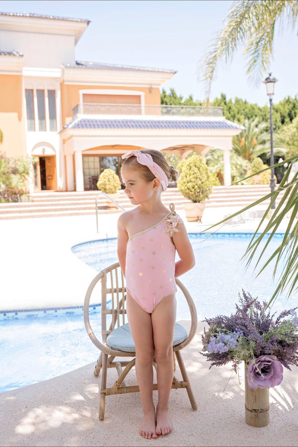 SS20 Dolce Petit Girls Pink & Gold Star Swimming Costume 2400-B