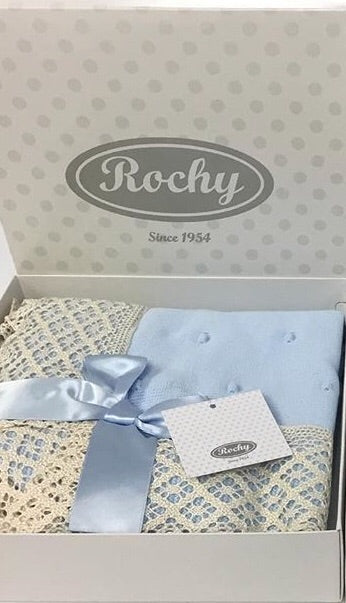 Rochy Blue & Cream Lace Baby Blanket
