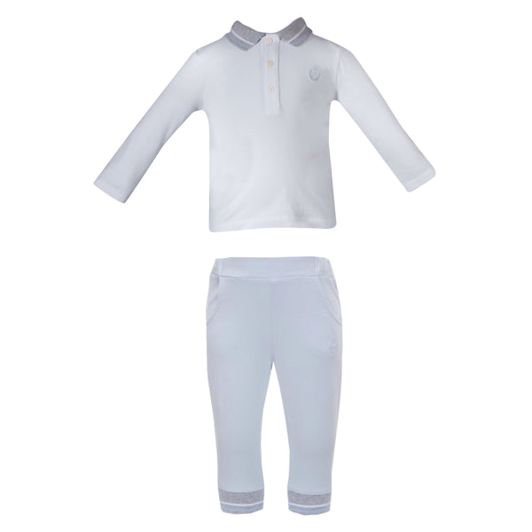 AW19 Patachou Boys Blue Polo Top & Tracksuit Bottoms Set