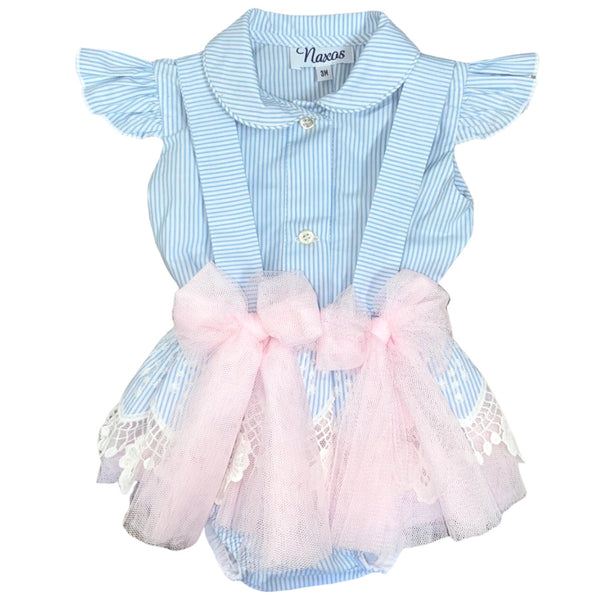 SS20 Naxos Baby Girls Blue & White Stripe Jam Pants Set