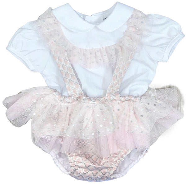 SS20 Naxos Baby Girls Pink, White & Silver Jam Pants Set