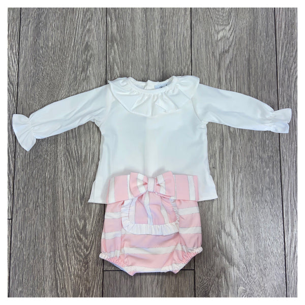AW20 Rochy Baby Girls Raya Lurex Pink & White Stripe Jam Pants Set