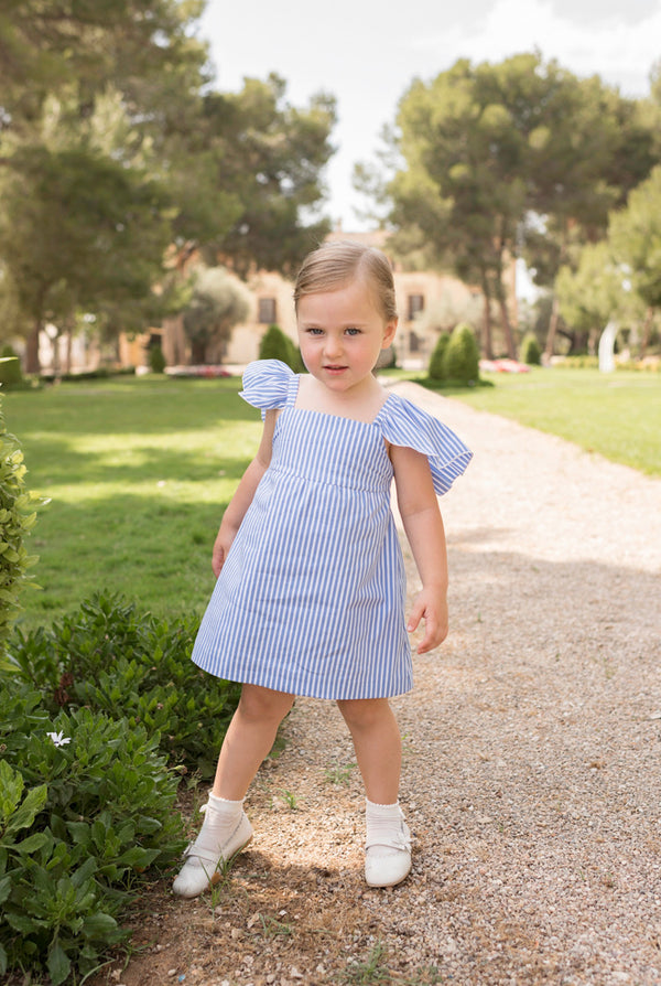 SS20 Dolce Petit Girls Blue & White Stripe Dress 2220-V