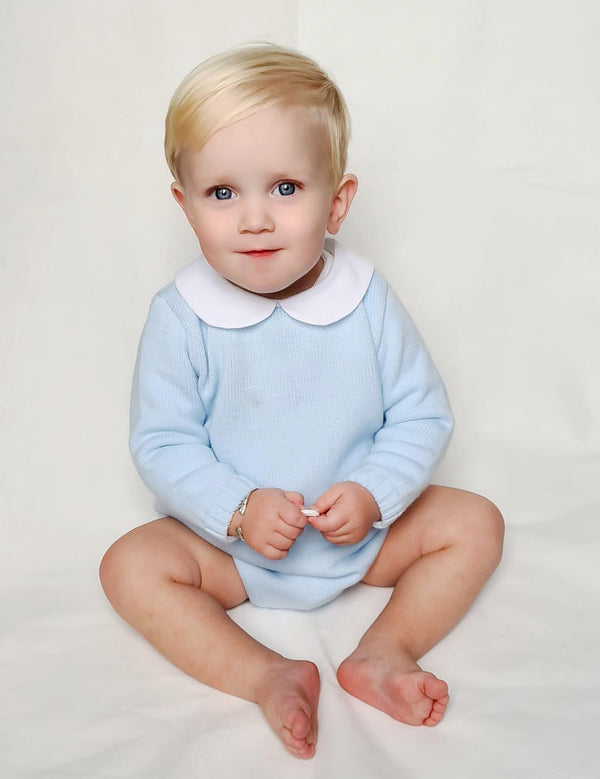 Aurea Peter Pan Collar Knitted Baby Blue Romper