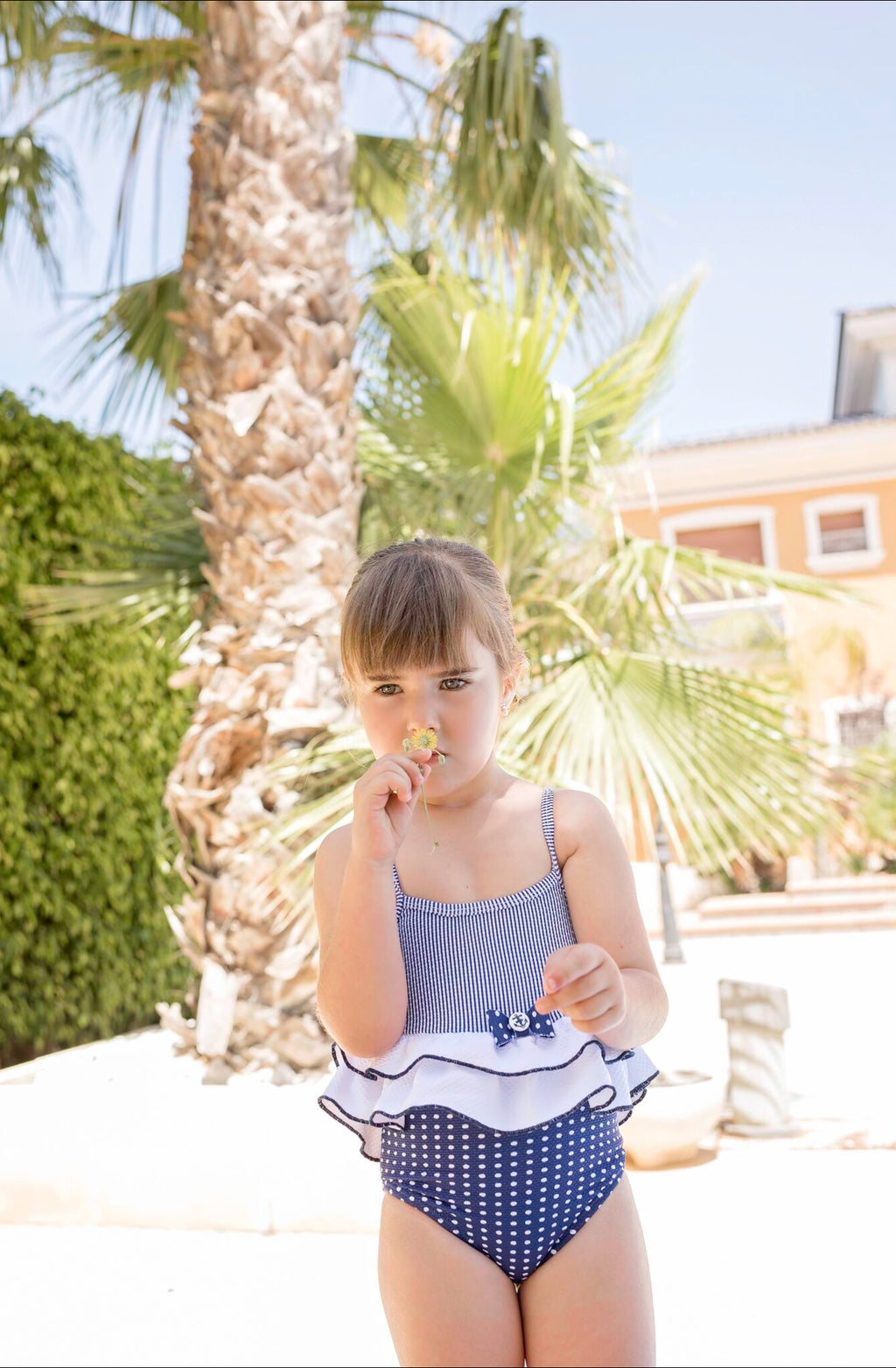 SS20 Dolce Petit Girls Navy Blue & White Swimming Costume 2407-B