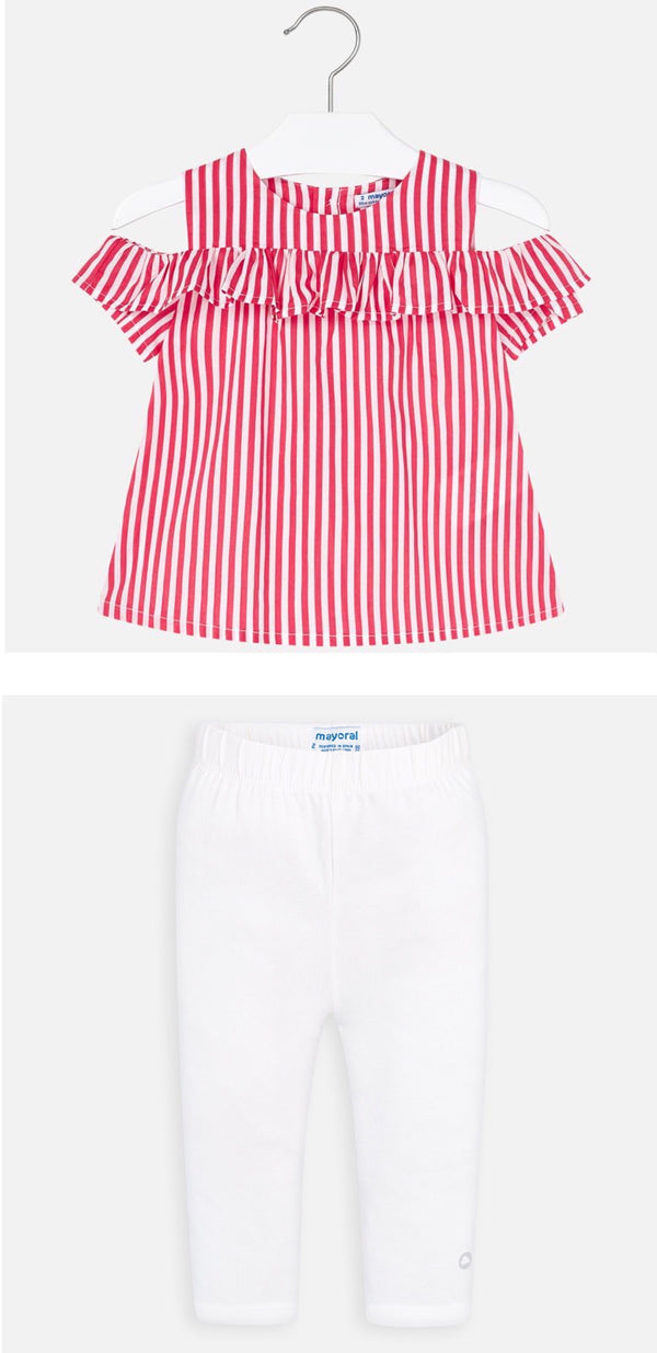 SS20 Mayoral Girls Watermelon & White Stripe Top 3186 & 723