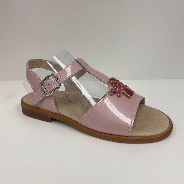 Andanines Pearl Pink 'Gucci' Inspired Bee Leather Sandals