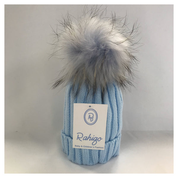 Rahigo Blue Faux Fur Pom Pom Hat