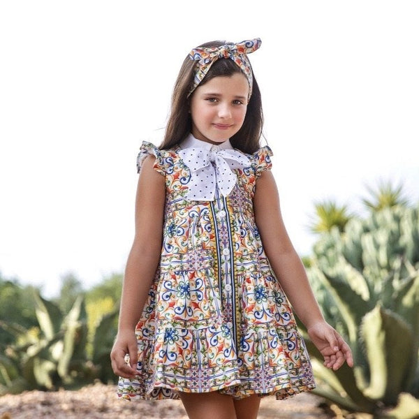 SS21 Rochy Girls Azulejo Bow Dress