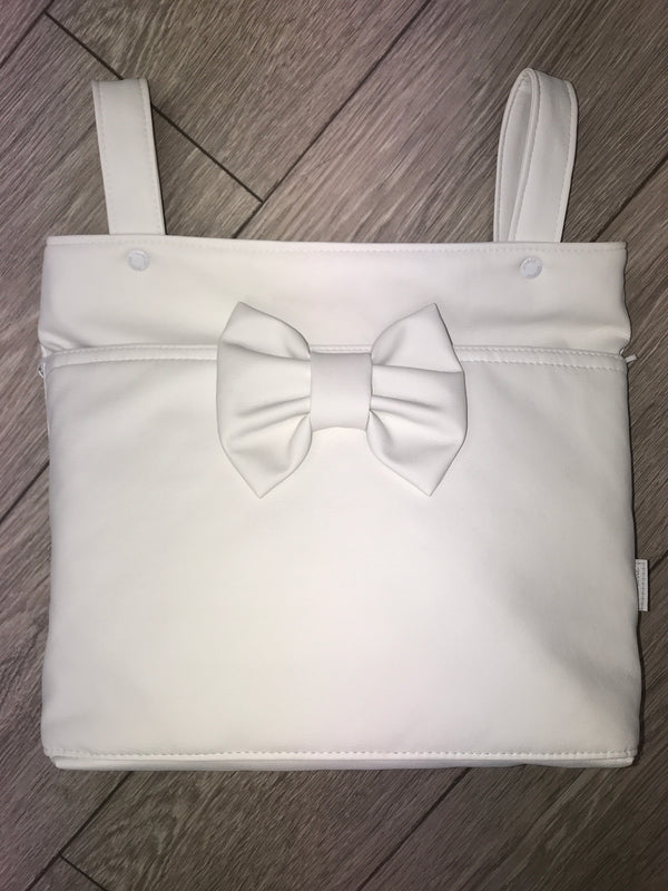 Uzturre Cream Bow Leatherette Pram Bag