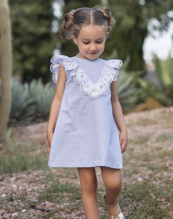 PRE-ORDER SS21 Rochy Girls Puntilla Blue & White Frill Dress