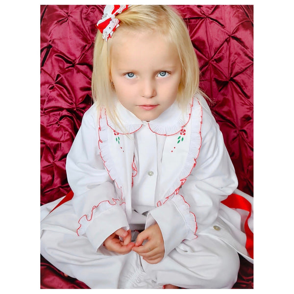 AW20 Salero Spanish Red and White Pyjamas & Dressing Gown