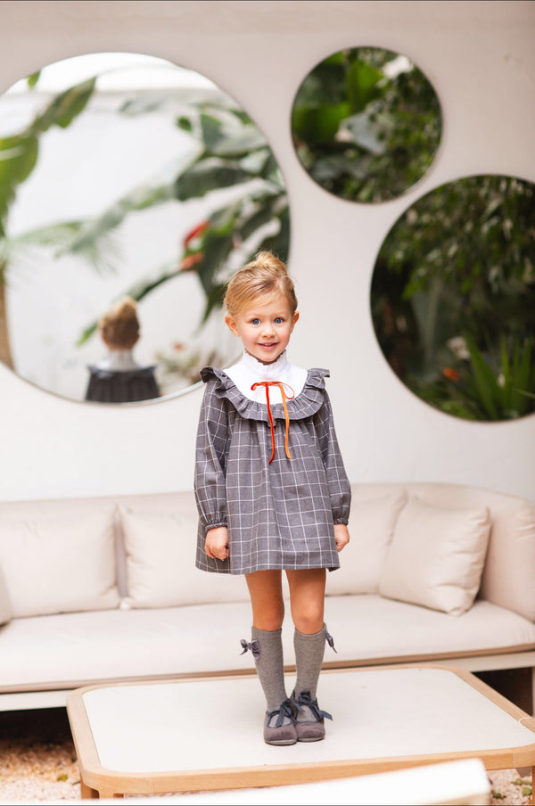 AW20 Rochy Girls Grey & White Check Sherlock Dress