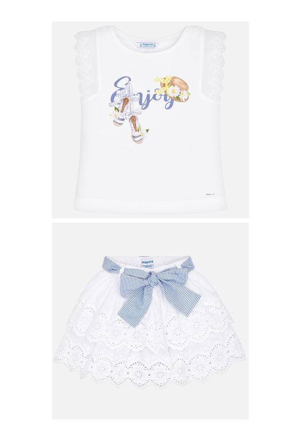 SS20 Mayoral Girls White Embroidered Skirt Set 3024 & 3905