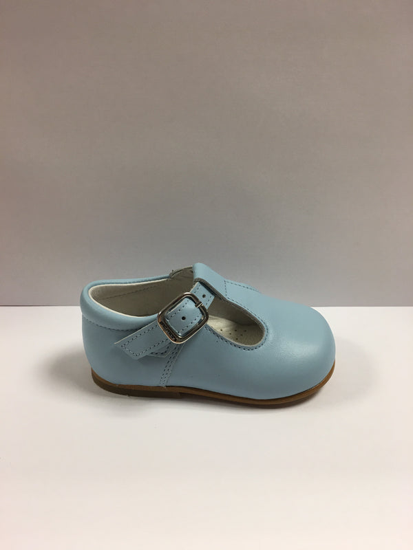 Andanines Boys Baby Blue Leather T-Bar Shoes - Liquorice Kids