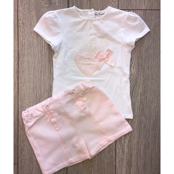 SS19 Patachou Girls Pink Heart Shorts Set