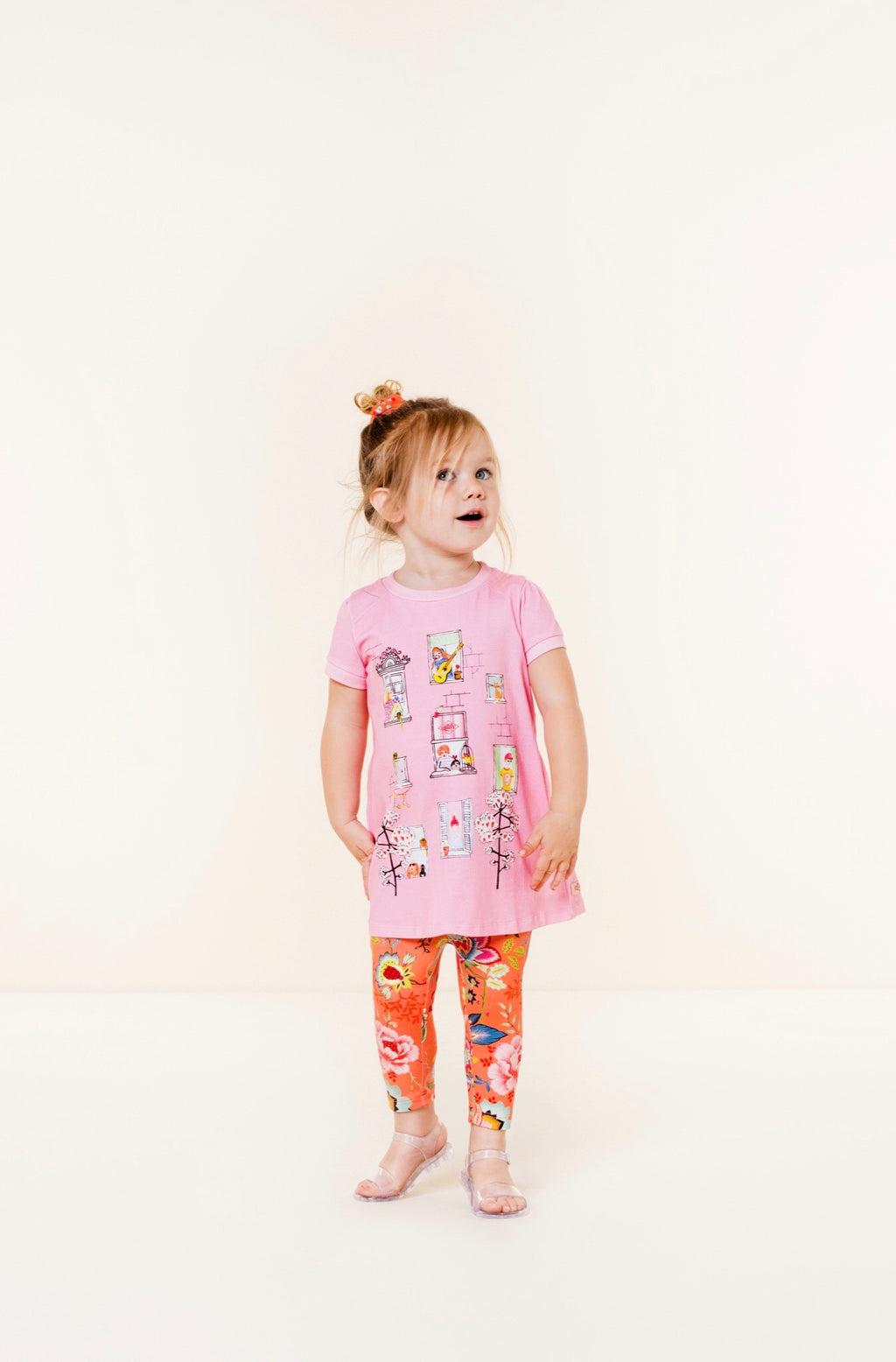 SS20 Oilily Girls Thehouse Pink Windows Jersey Dress 32