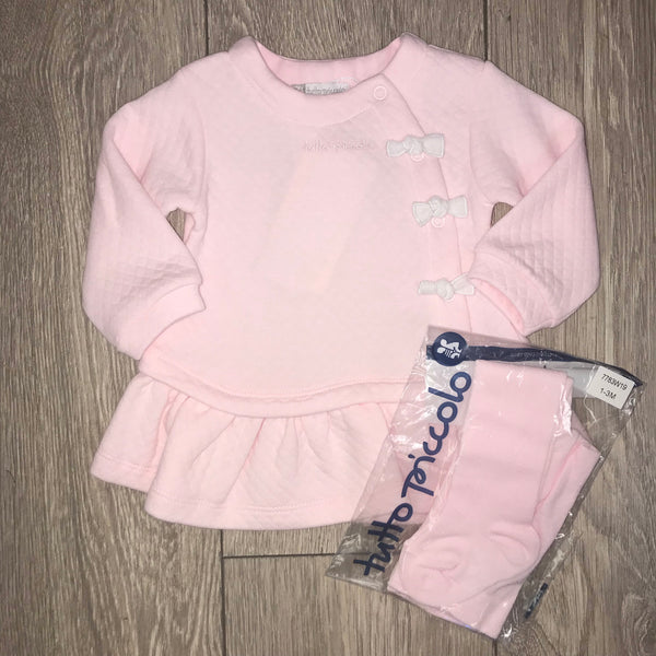 AW19 Tutto Piccolo Baby Girls Pink & White Bows Dress & Tights Set 7783