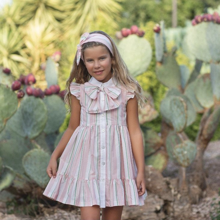 PRE-ORDER SS21 Rochy Girls Rayas Pink & Green Bow Dress