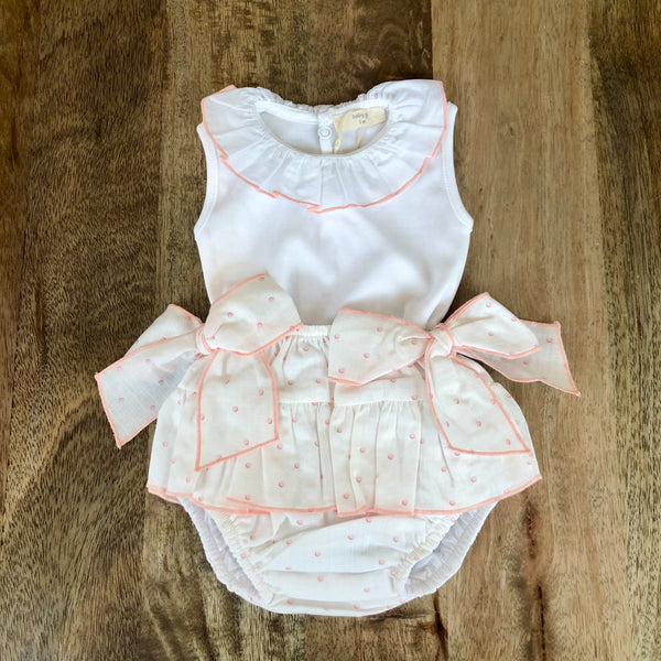 SS20 Baby Gi Baby Girls Ivory & Peach Bubbles Jam Pants Set