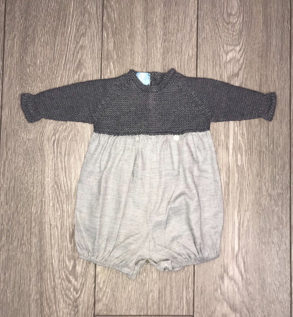 AW18 Floc Baby Boys Grey Knitted Romper