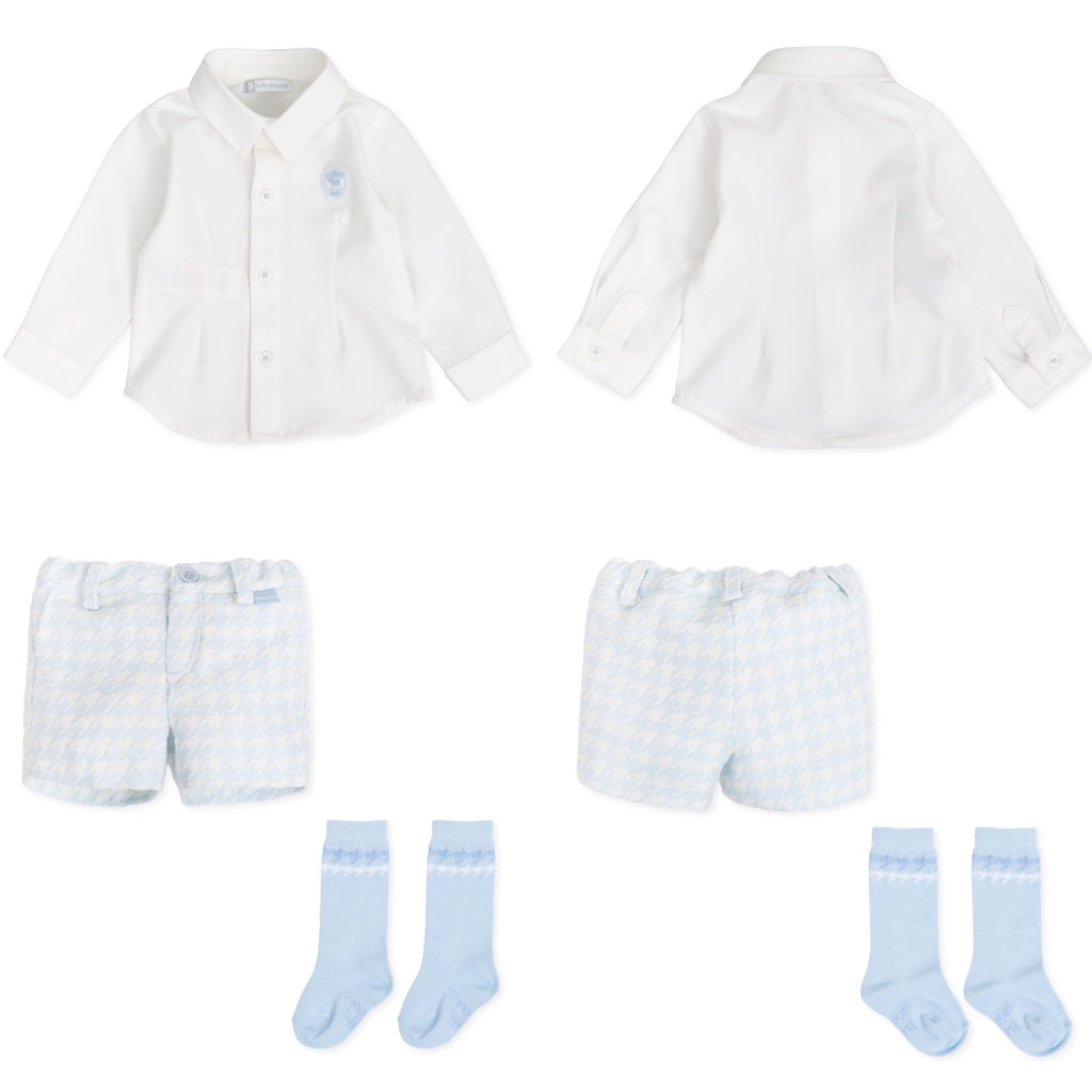 AW19 Tutto Piccolo Boys Blue Dogtooth Shorts Set 7012 & 7312