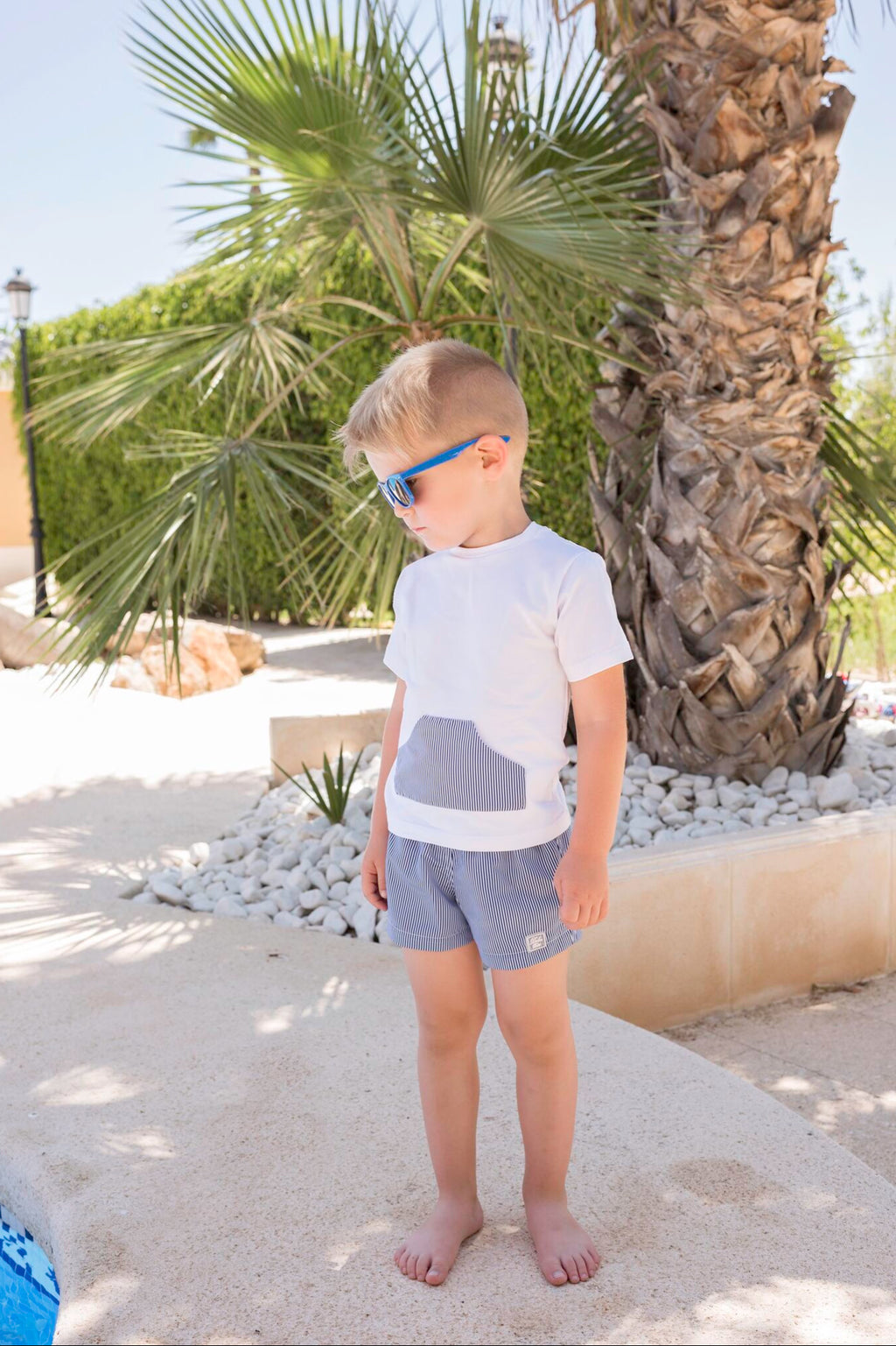 SS20 Dolce Petit Boys Navy Blue & White Swimming Short Set 2408-2B