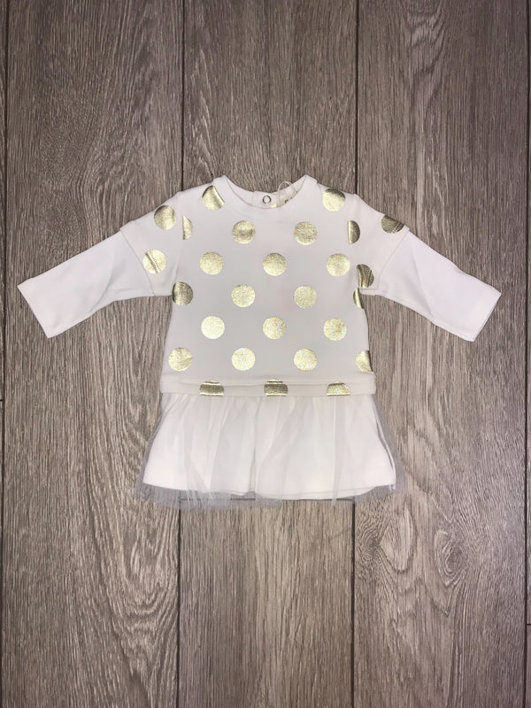 AW18 Everything Must Change Baby Girls Ivory & Gold Spot Dress